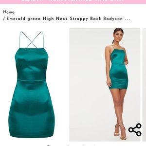 Emerald green stewpot backless bodycon dress